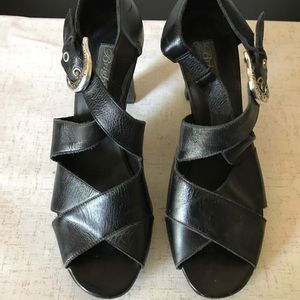 Brighton Black Buckle Strap Heels